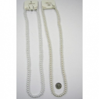 32 INCH PEARL GLASS QUALITY NECKLACE W/ EARRING SET WHITE/CREAM