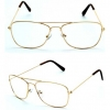 CLEAR LENS AVIATOR SQUARISH STYLE, GOLD METAL FRAMES GLASSES