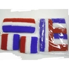 RED-WHITE-BLUE SWEATBAND SETS, BRIGHTER BLUE VERSION