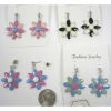FLOWER SHAPE EARRING IN ASSORTED COLORS AND SMALL GEM POST