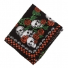 55X15 INCH SCARF SKULLS AND RED ROSES WITH RED/BLK CHECK BORDER