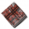 SCARF 55X15 INCHES SKULL W/ BLK ROSE ON TOP OF HEAD W/ RED/BLACK