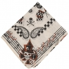SCARF, 55X15 INCHES WITH SKULLS, DIAMONDS, CHECKERBOARD, & MORE
