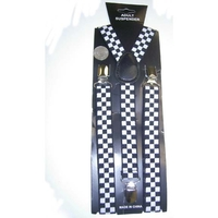 BLACK/WHITE CHECKER BOARD  SUSPENDERS