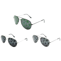 AVIATOR SUNGLASSES WITH SMALL POT LEAVES IMAGES ON LENS