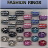 LUCITE RINGS 2 DIFFERENT IN ASST COLORS WITH GEMS ON TOP