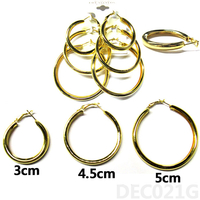 3 TUBE HOOP GOLD COLOR EARRINGS, 3 SIZES