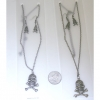 SKULL AND CROSSBONES NECKLACE & EARRING SET