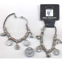 CHARMS AND BEADS ON BLACK CORD BRACELET