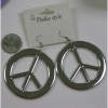 "PEACE SIGN EARRINGS ALL SILVER, 2"" DIAMETER,"