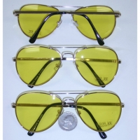 AVIATOR YELLOW LENS, GOLD METAL FRAMES SUNGLASSES