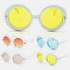 WHITE & CLEAR  ROUND PLASTIC FRAMES, JACKIE O LOOK COLOR LENSES