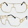 CLEAR LENS, GOLD METAL FRAMES EXCELLENT QUALITY FUNKY GLASSES