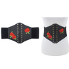 BLACK CORSET BELT, WITH LACES IN  FRONT & EMBROIDERED RED ROSES