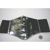SILVER SHINY CORSET STYLE BELT, LACES,  STRETCHES ON
