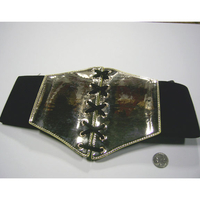 GOLD SHINY COLOR CORSET BELT, 7 INCHES, LACES & STRETCH ON