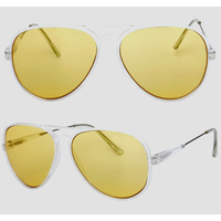YELLOW LENS, CLEAR FRAMES, AVIATORS WITH METAL ARMS SUNGLASSES
