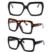 CLEAR LENS LARGE BLACK & TORTOISE FRAMES SQUARISH SHAPE