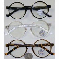 CLEAR LENS ROUND FRAMES IN BLACK, TORTOISE & CLEAR FRAMES