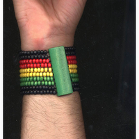 RASTA WOOD STRETCH BRACELET, 10 ROWS
