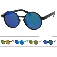 ROUND FLAT FRAMES WITH REVO LENS SUNGLASSES