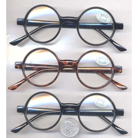 CLEAR LENS ROUND SMALL FRAMES SUNGLASSES, BLACK & TORTOISE