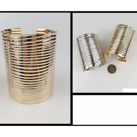 METAL CUFF BRACELET, 3 INCHES WIDE, GOLD & SILVER