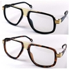 CLEAR LENS CAZEL TYPE GLASSES WITH GOLD BRIDGE AREA