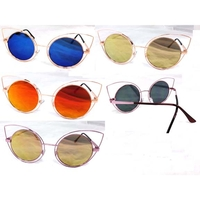 CAT METAL FRAMES WITH ROUND REVO LENS FLAT FRAMES SUNGLASSES