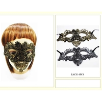 BLACK LACE MASK WITH GOLD OR SILVER HIGHLIGHTS