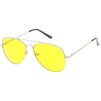 AVIATOR YELLOW LENS SUNGLASSES WITH SPRING TEMPLE