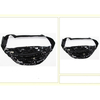 BLACK/SILVER MERMAID STYLE SEQUIN FANNY PACK, 3 ZIPPERS