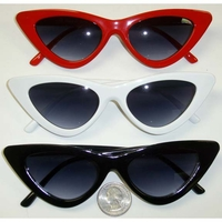 CAT SHAPE FRAMES WITH DARK LENS  7 white, 2 red only in stock no