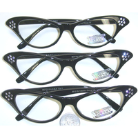 CLEAR LENS BLACK CAT RETO GLASSES WITH DAISY LOOK RHINESTONES