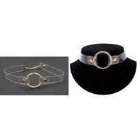CLEAR VINYL CHOKER WITH GOLD COLOR HOOP FRONT