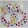 STARS AND HEARTS PRINT WHITE MOD EARRINGS