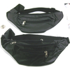 BLACK FAUX LEATHER LOOK FANNY PACK, 3 ZIPPERS
