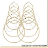"6 PAIRS GOLD HOOP EARRINGS FROM 1.2""-2.75 INCH"