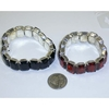 BLACK AND RED GEM STRETCH BRACELETS