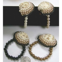 PEARL LOOK 4 COLOR BRACELET WITH SEA SHELL