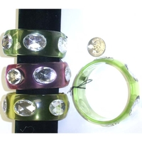 1.1/8 INCH WIDE 3 COLOR TRANSLUCENT BANGLE WITH OVAL SHAPE GEMS