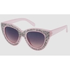 CLEAR  SMALL CRYSTALS LADEN CAT SHAPE SUNGLASSES