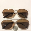 AVIATOR RECTANGLE SHAPE SUNGLASSES, GOLD FRAMES/BROWN LENS