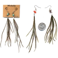 STRINGY FEATHER EARRINGS WITH SMALL STONE ON TOP