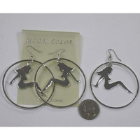 TRUCKER GIRL SILVER NUDE GIRL EARRINGS