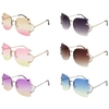 DIAMOND CUT EDGE LADIES SUNGLASSES W/ OCEAN LENS, METAL ARMS