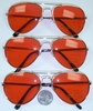 RED LENS AVIATORS SUNGLASSES, GOLD FRAMES