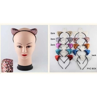 GLITTER CAT STYLE EARS IN ASSORTED COLORS