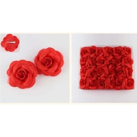 2 RED ROSES HAIR CLIPS ON A CARD
