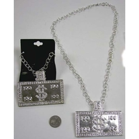 $100 SIGN SILVER HEAVY PIMP NECKLACE